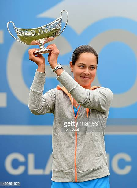Ana Ivanovic of Serbia poses with the trophy following her victory in the Singles Final during Day Seven of the Aegon Classic at Edgbaston Priory...