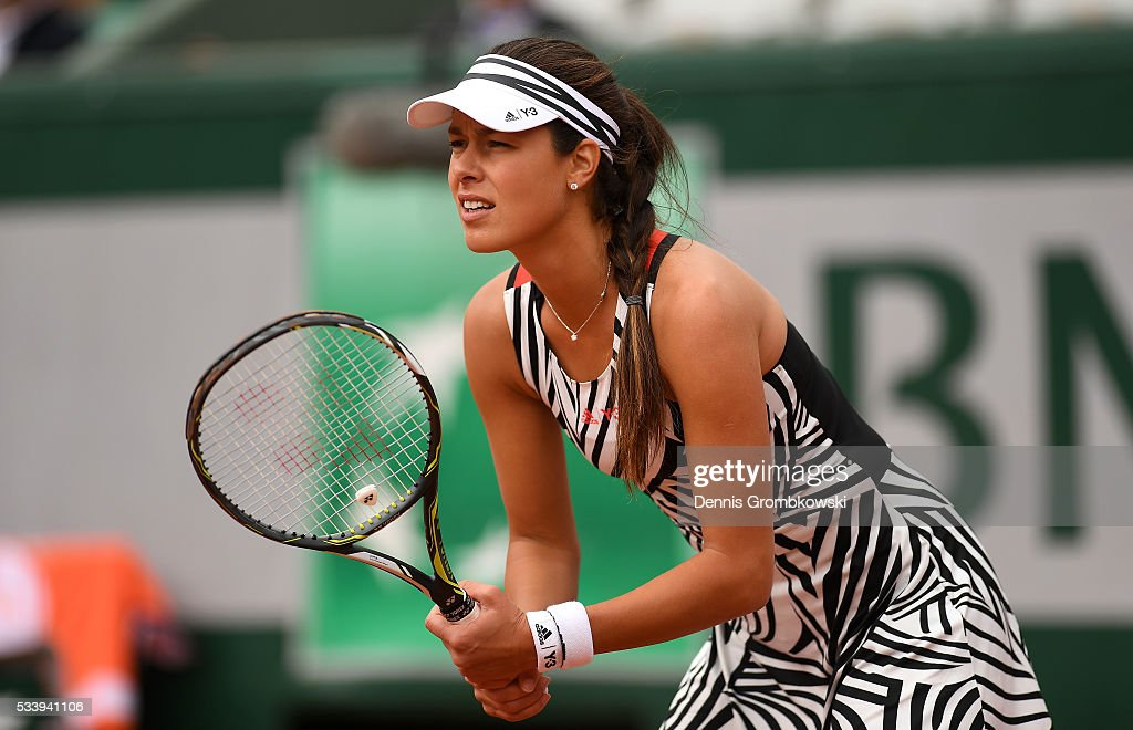 Ana Ivanovic of Serbia prepares to return a serve during the Women's Singles first round match against Oceane Dodin of France on day three of the 2016 French Open at Roland Garros on May 24, 2016 in Paris, France.
