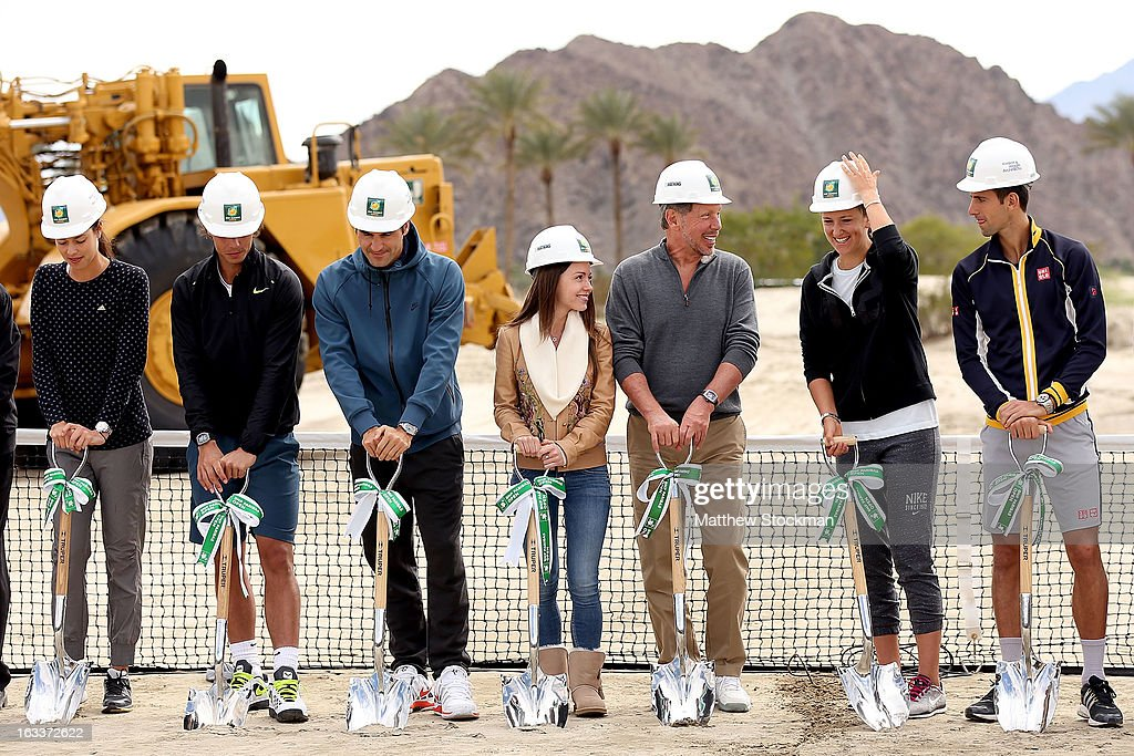 Ana Ivanovic of Serbia, Rafael Nadal of Spain, Roger Federer of Switzerland, Nikita Kahn, Larry Ellison, tournament owner and CEO of Oracle, Victoria Azarenka of Belarus, and Novak Djokovic of Serbia participate in the ground breaking ceremony for the Indian Wells Tennis Garden expansion during the BNP Paribas Open at the Indian Wells Tennis Garden on March 8, 2013 in Indian Wells, California.