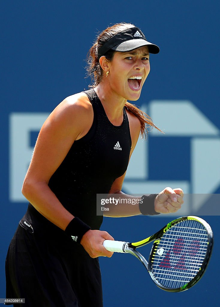 Ana Ivanovic of Serbia reacts against Alison Riske of the United States during her women's singles first round match on Day Two of the 2014 US Open at the USTA Billie Jean King National Tennis Center on August 26, 2014 in the Flushing neighborhood of the Queens borough of New York City.