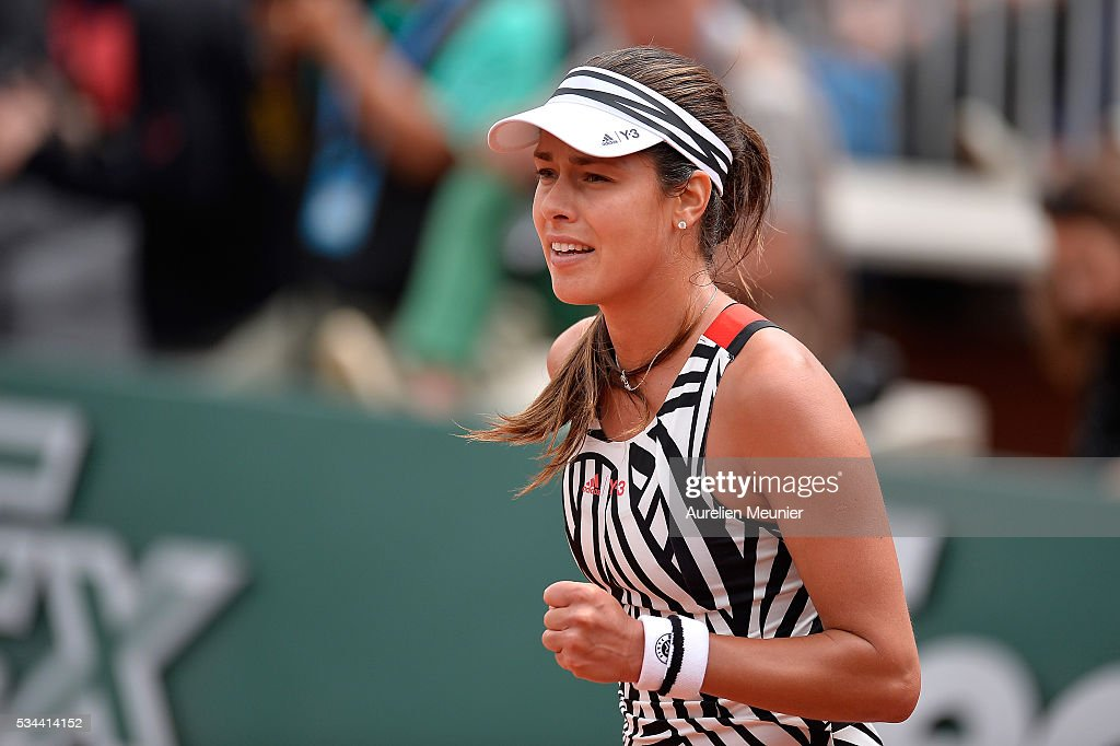 <a gi-track='captionPersonalityLinkClicked' href=/galleries/search?phrase=Ana+Ivanovic&family=editorial&specificpeople=542118 ng-click='$event.stopPropagation()'>Ana Ivanovic</a> of Serbia reacts during her women's single second round match against Kurumi Nara of Japan on day five of the 2016 French Open at Roland Garros on May 26, 2016 in Paris, France.