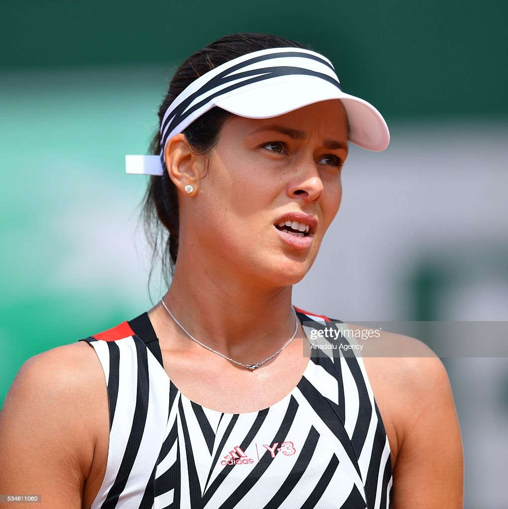 Ana Ivanovic of Serbia reacts during the women's single third round match against Elina Svitolina (not seen) of Ukraine at Roland Garros Stadium in Paris, France on May 28, 2016.