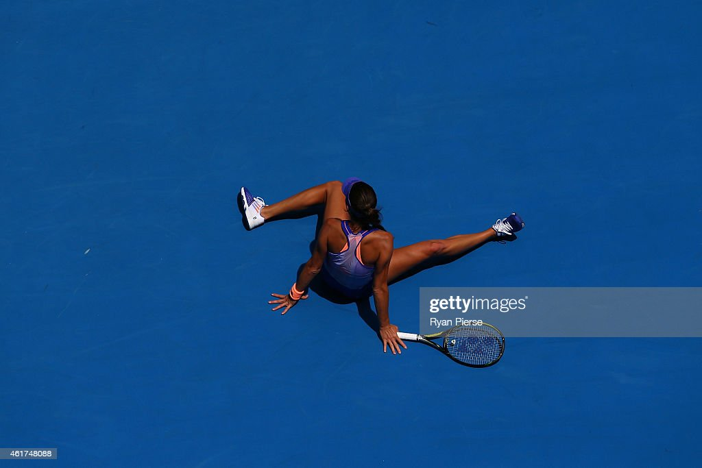<a gi-track='captionPersonalityLinkClicked' href=/galleries/search?phrase=Ana+Ivanovic&family=editorial&specificpeople=542118 ng-click='$event.stopPropagation()'>Ana Ivanovic</a> of Serbia reacts in her first round match against Lucie Hradecka of the Czech Republic during day one of the 2015 Australian Open at Melbourne Park on January 19, 2015 in Melbourne, Australia.