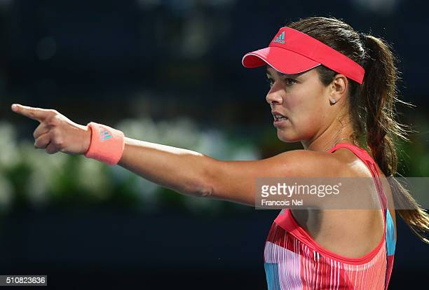 Ana Ivanovic of Serbia reacts in her match against Simona Halep of Romania during day three of the WTA Dubai Duty Free Tennis Championship at the...