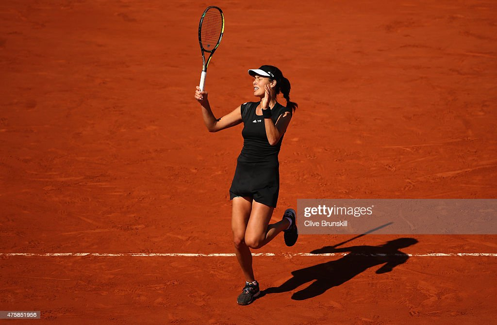 <a gi-track='captionPersonalityLinkClicked' href=/galleries/search?phrase=Ana+Ivanovic&family=editorial&specificpeople=542118 ng-click='$event.stopPropagation()'>Ana Ivanovic</a> of Serbia reacts in her Women's Semi final match against Lucie Safarova of Czech Repbulic on day twelve of the 2015 French Open at Roland Garros on June 4, 2015 in Paris, France.