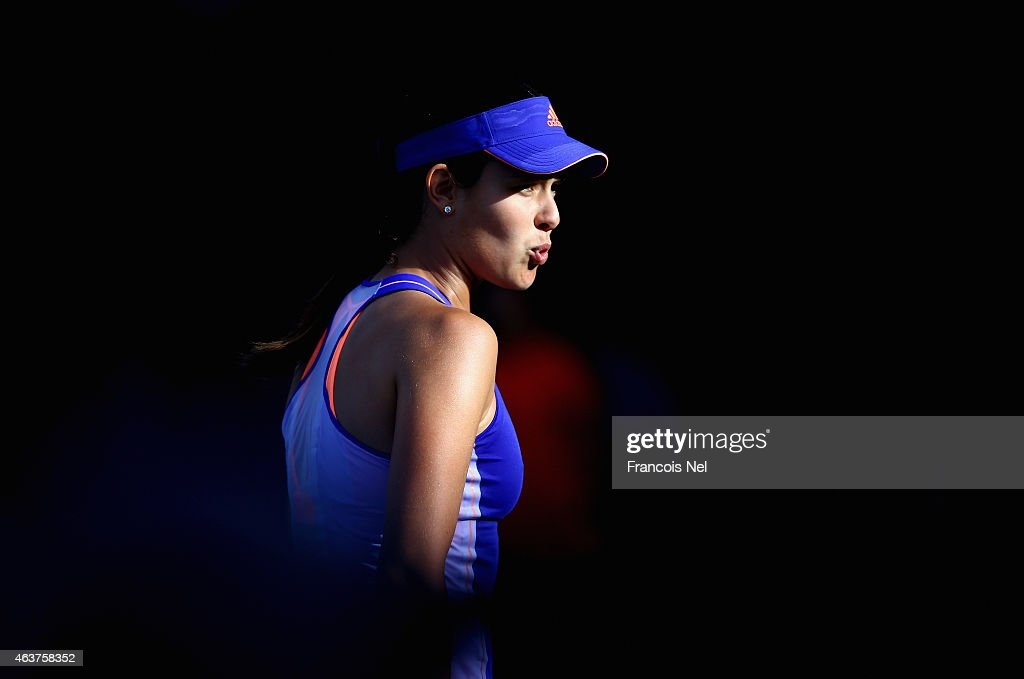 <a gi-track='captionPersonalityLinkClicked' href=/galleries/search?phrase=Ana+Ivanovic&family=editorial&specificpeople=542118 ng-click='$event.stopPropagation()'>Ana Ivanovic</a> of Serbia reacts to a point in her match against a Karolina Pliskova of the Czech Republic during day four of the WTA Dubai Duty Free Tennis Championship at the Dubai Duty Free Stadium on February 18, 2015 in Dubai, United Arab Emirates.
