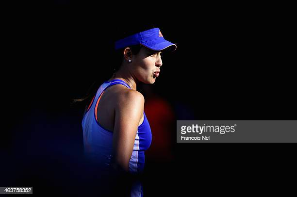 Ana Ivanovic of Serbia reacts to a point in her match against a Karolina Pliskova of the Czech Republic during day four of the WTA Dubai Duty Free...