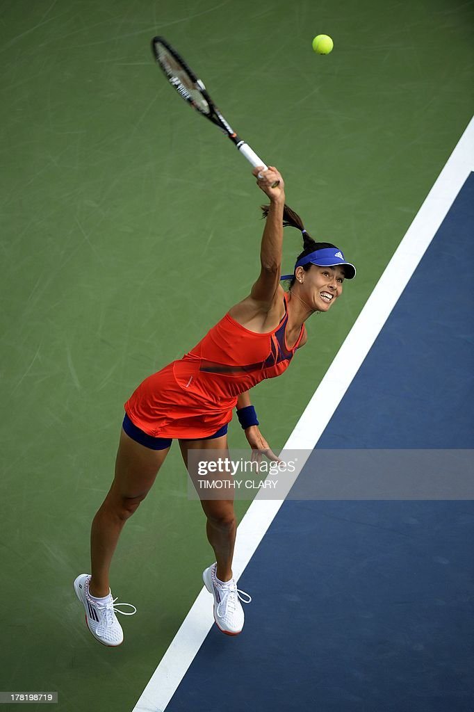 Ana Ivanovic of Serbia returns against Anna Tatishvili of Georgia during their 2013 US Open women's singles match at the USTA Billie Jean King National Tennis Center in New York on August 27 , 2013.
