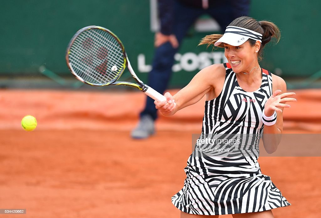 Ana Ivanovic of Serbia returns to Kurumi Nara (not seen) of Japan during their women's single second round match at the French Open tennis tournament at Roland Garros in Paris, France on May 26, 2016.