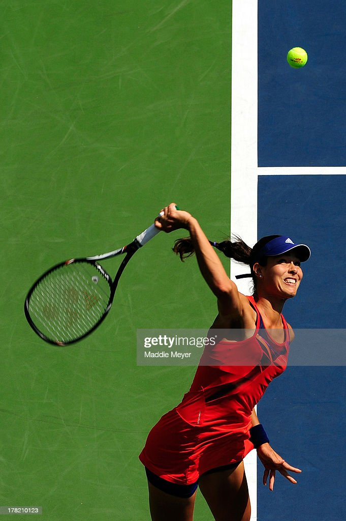 Ana Ivanovic of Serbia serves during her women's singles first round match against Anna Tatishvili of Georgia on Day Two of the 2013 US Open at USTA Billie Jean King National Tennis Center on August 27, 2013 in the Flushing neighborhood of the Queens borough of New York City.