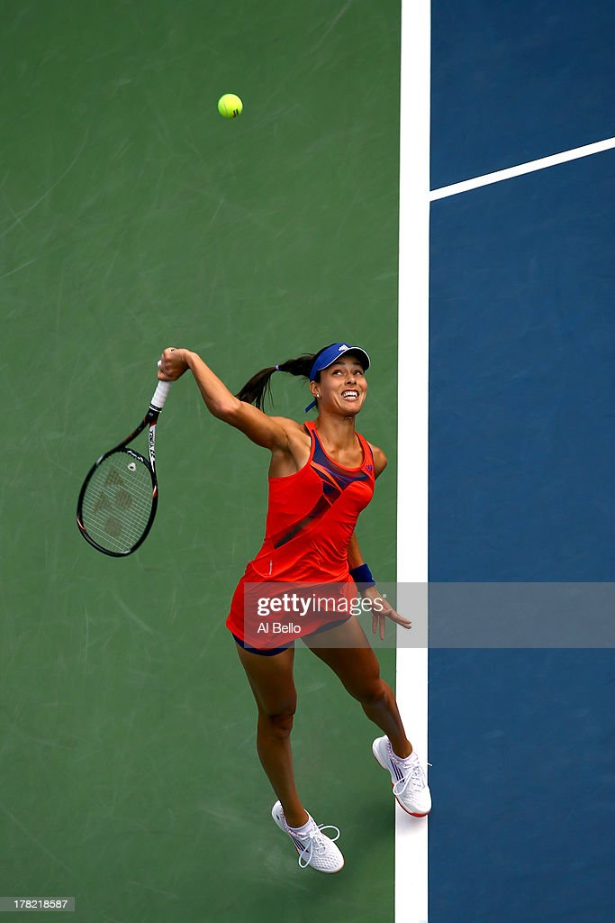 Ana Ivanovic of Serbia serves during her women's singles first round match against Anna Tatishvili of Georgia on Day One of the 2013 US Open at USTA Billie Jean King National Tennis Center on August 26, 2013 in the Flushing neighborhood of the Queens borough of New York City.