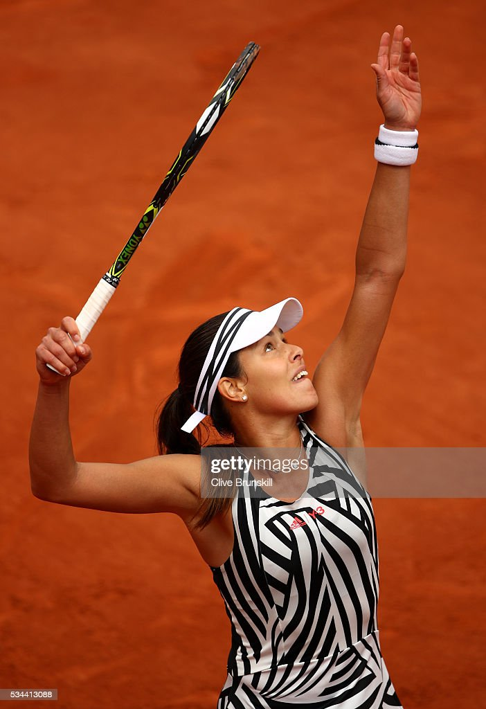 <a gi-track='captionPersonalityLinkClicked' href=/galleries/search?phrase=Ana+Ivanovic&family=editorial&specificpeople=542118 ng-click='$event.stopPropagation()'>Ana Ivanovic</a> of Serbia serves during the Ladies Singles second round match against Kurumi Nara of Japan on day five of the 2016 French Open at Roland Garros on May 26, 2016 in Paris, France.
