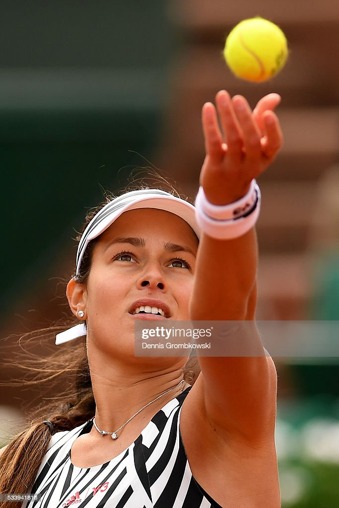 <a gi-track='captionPersonalityLinkClicked' href=/galleries/search?phrase=Ana+Ivanovic&family=editorial&specificpeople=542118 ng-click='$event.stopPropagation()'>Ana Ivanovic</a> of Serbia serves during the Women's Singles first round match against Oceane Dodin of France on day three of the 2016 French Open at Roland Garros on May 24, 2016 in Paris, France.