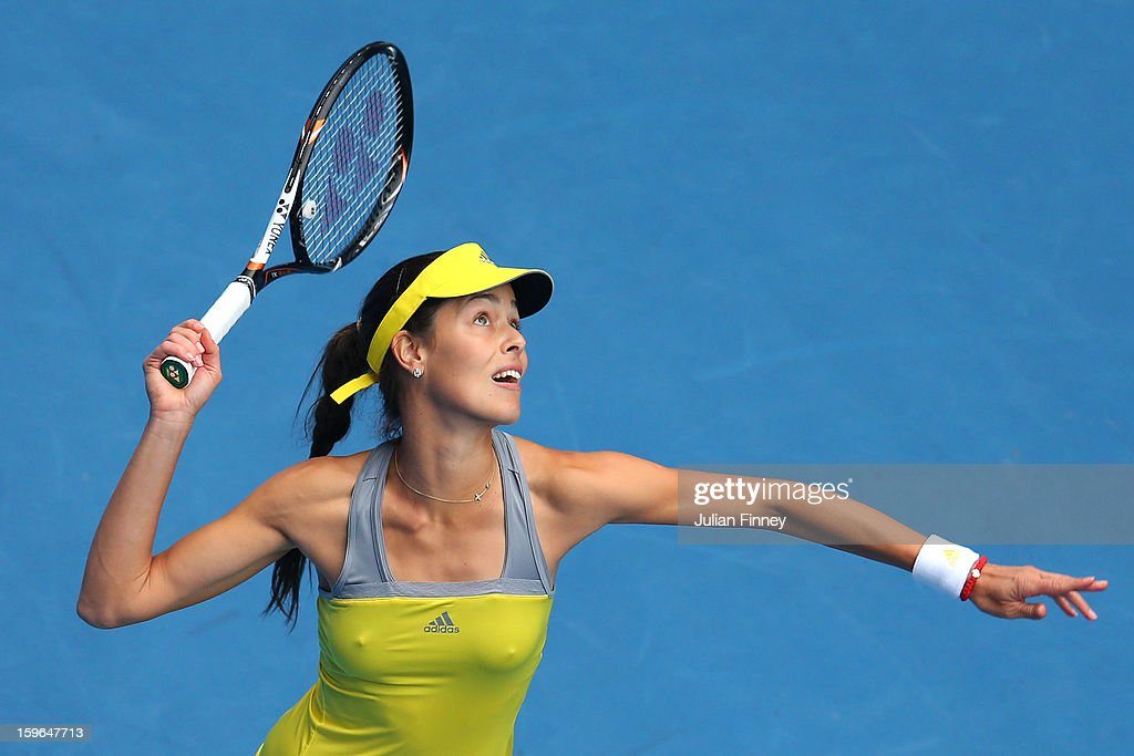 Ana Ivanovic of Serbia serves in her third round match against Jelena Jankovic of Serbia during day five of the 2013 Australian Open at Melbourne Park on January 18, 2013 in Melbourne, Australia.