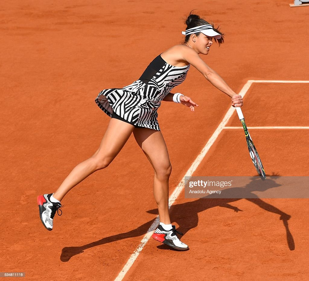 Ana Ivanovic of Serbia serves to Elina Svitolina (not seen) of Ukraine during the women's single third round match at the French Open tennis tournament at Roland Garros Stadium in Paris, France on May 28, 2016.