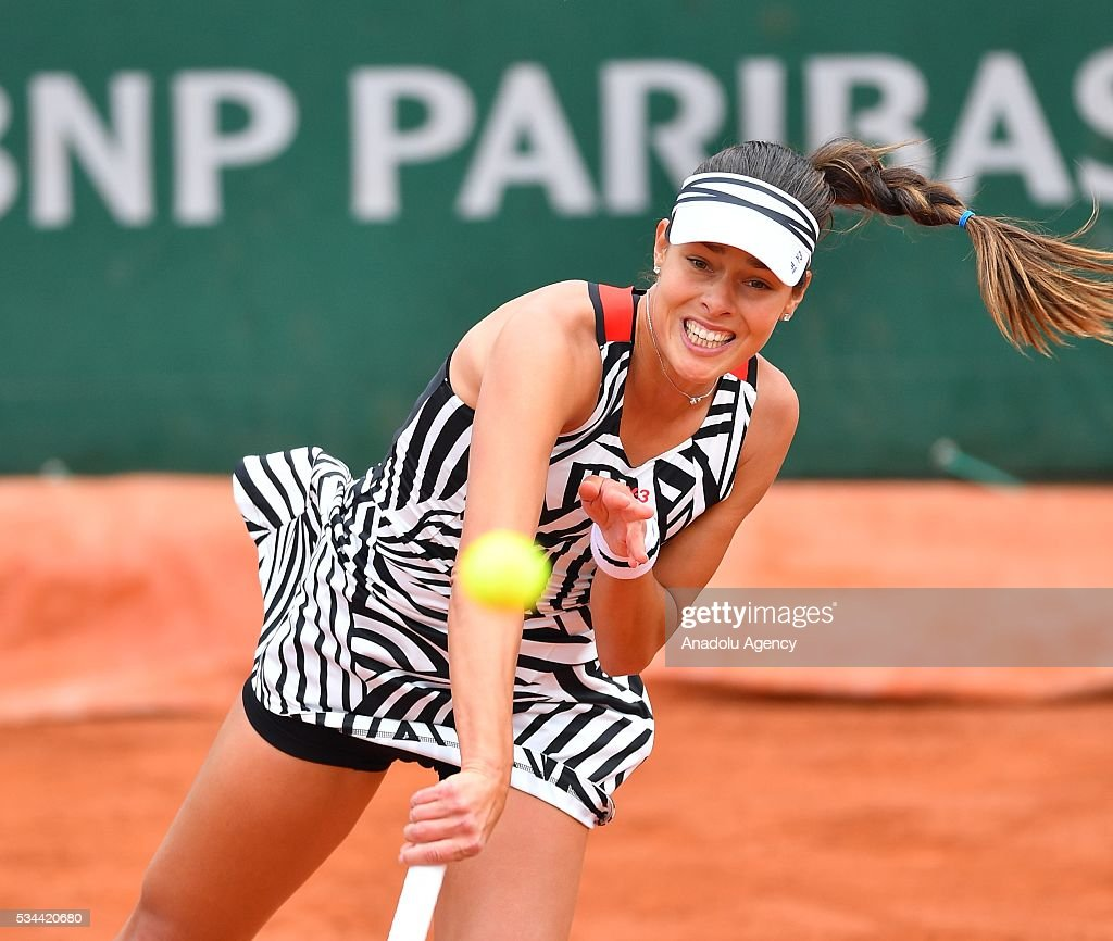 Ana Ivanovic of Serbia serves to Kurumi Nara (not seen) of Japan during their women's single second round match at the French Open tennis tournament at Roland Garros in Paris, France on May 26, 2016.