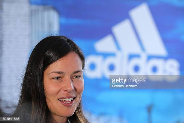 Ana Ivanovic of Serbia talks to the media during the adidas ACE Case Launch at Crown Entertainment Complex on January 14 2016 in Melbourne Australia