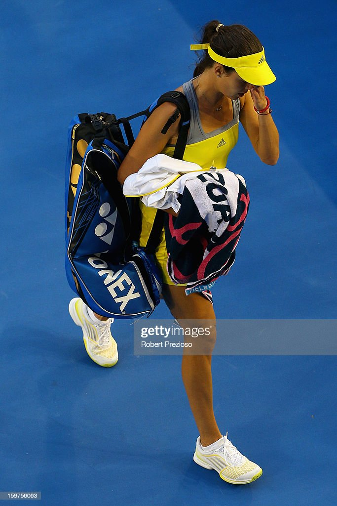 Ana Ivanovic of Serbia walks off court after losing her fourth round match against Agnieszka Radwanska of Poland during day seven of the 2013 Australian Open at Melbourne Park on January 20, 2013 in Melbourne, Australia.