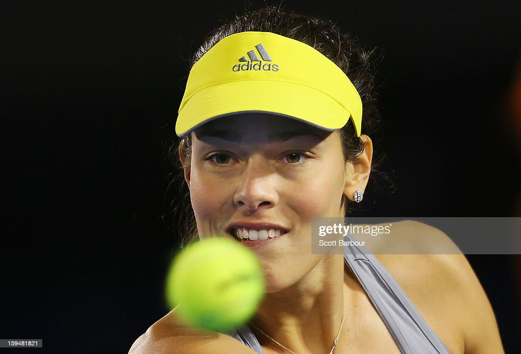 <a gi-track='captionPersonalityLinkClicked' href=/galleries/search?phrase=Ana+Ivanovic&family=editorial&specificpeople=542118 ng-click='$event.stopPropagation()'>Ana Ivanovic</a> of Serbia watches the ball during her first round match against Melinda Czink of Hungary during day one of the 2013 Australian Open at Melbourne Park on January 14, 2013 in Melbourne, Australia.