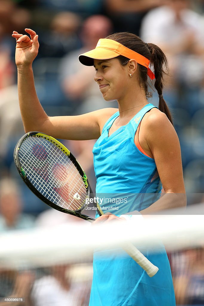 Ana Ivanovic of Serbia waves to the crowd after winning her semi-final match against Shuai Zhang of China during day six of the Aegon Classic at Edgbaston Priory Club on June 14, 2014 in Birmingham, England.