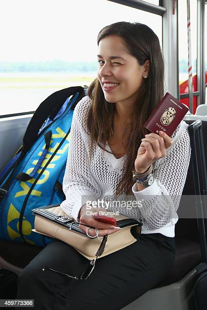 Ana Ivanovic of the Indian Aces on the shuttle bus to the VIP terminal after the players flight on a private jet from Manila to Singapore prior to...