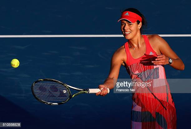 Ana Jankovic of Serbia celebrates after winning her her match against Daria Gavrilova of Australia during day two of the WTA Dubai Duty Free Tennis...