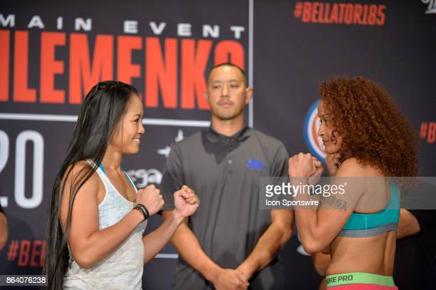 Ana Julaton and Lisa Blaine pose for photos at the weighin Ana Julaton will be challenging Lisa Blaine in a Flyweight bout on October 19 2017 at...