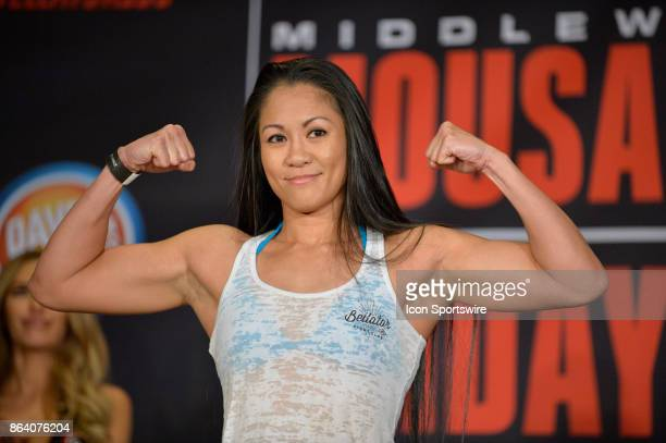 Ana Julaton pose for photos at the weighin Ana Julaton will be challenging Lisa Blaine in a Flyweight bout on October 19 2017 at Bellator 185 at the...