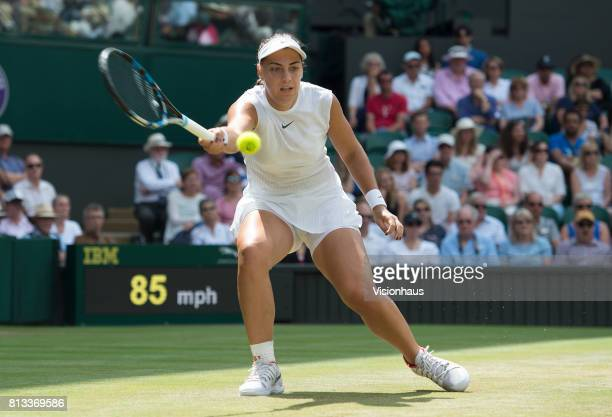 Ana Konjuh during her fourth round match against Venus Williams on day seven of the Wimbledon Lawn Tennis Championships at the All England Lawn...