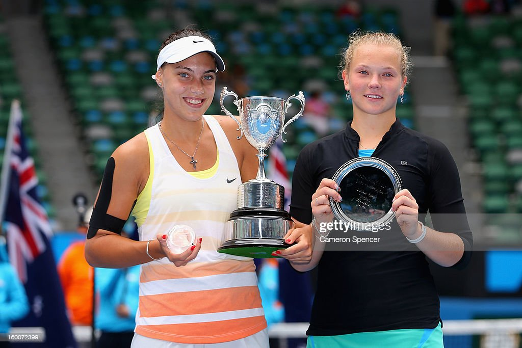 Ana Konjuh of Croatia and Katerina Siniakova of the Czech Republic pose with their trophies after the junior girls' final match during the 2013 Australian Open Junior Championships at Melbourne Park on January 26, 2013 in Melbourne, Australia.