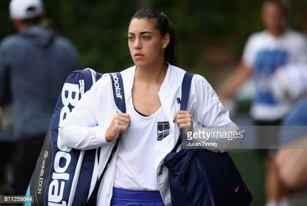 Ana Konjuh of Croatia arrives for a practice session at Wimbledon on July 9 2017 in London England