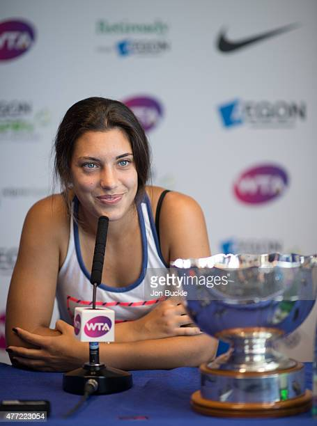 Ana Konjuh of Croatia attends press conference with the Elena Baltacha Trophy on day eight of the WTA Aegon Open Nottingham at Nottingham Tennis...