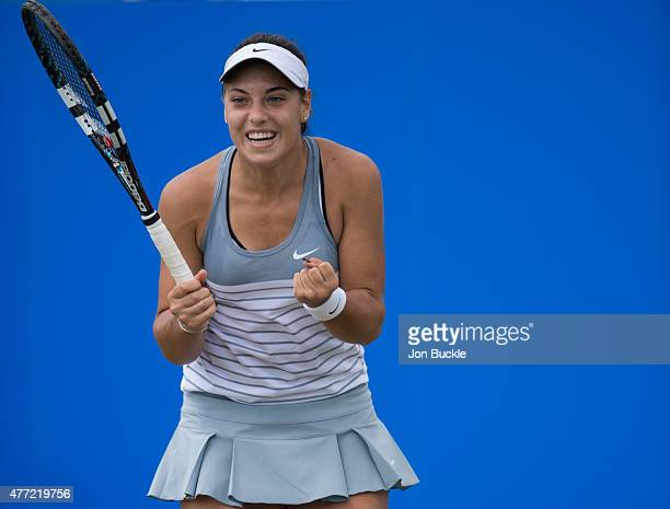 Ana Konjuh of Croatia celebrates match point in the women's singles final against Monica Niculescu of Romania on day eight of the WTA Aegon Open...
