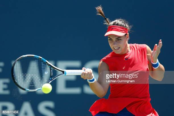 Ana Konjuh of Croatia competes against Marina Erakovic of New Zealand during day 1 of the Bank of the West Classic at Stanford University Taube...