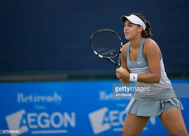 Ana Konjuh of Croatia during her match against against Sachia Vickery of USA on day seven of the WTA Aegon Open Nottingham at Nottingham Tennis...