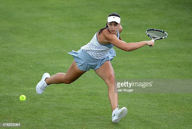 Ana konjuh of Croatia in action against Mirjana LucicBaroni of Croatia in their qualifying match on day one of the WTA Aegon Open Nottingham at...