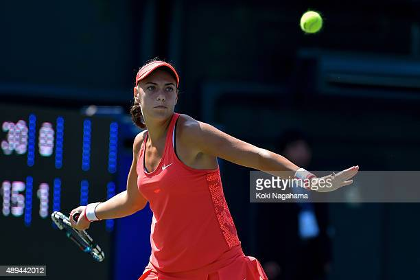 Ana Konjuh of Croatia in action during the women's singles match against Risa Ozaki of Japan during day one of the Toray Pan Pacific Open at Ariake...
