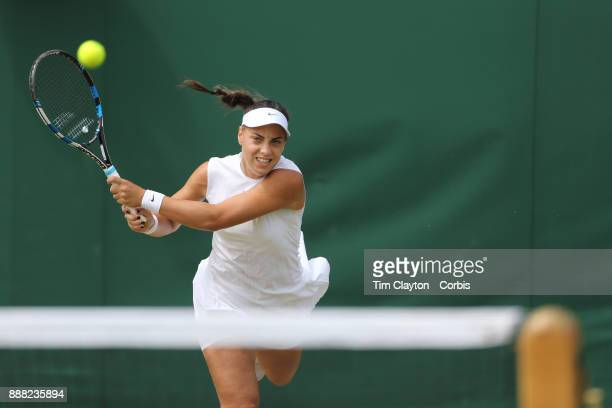 Ana Konjuh of Croatia in action in the Ladies' Doubles with partner Beatriz Haddad Maia of Brazil during the Wimbledon Lawn Tennis Championships at...