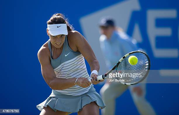 Ana Konjuh of Croatia in returns a shot during her match against Casey Dellacqua of Australia on day four of the WTA Aegon Open Nottingham at...