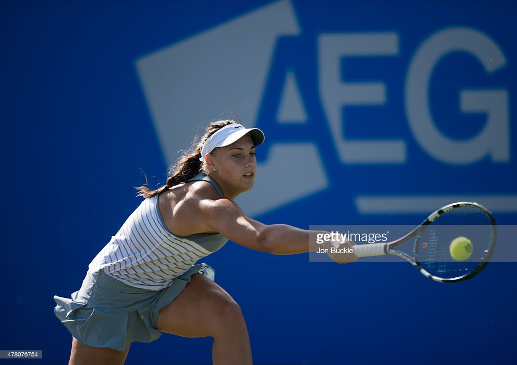 Ana Konjuh of Croatia in returns a shot during her match against Casey Dellacqua of Australia on day four of the WTA Aegon Open Nottingham at Nottingham Tennis Centre on June 11, 2015 in Nottingham, England.
