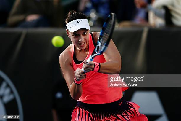 Ana Konjuh of Croatia plays a backhand in her semi final match against Julia Goerges of Germany on day five of the ASB Classic on January 6 2017 in...