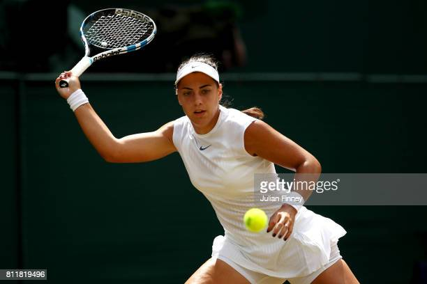 Ana Konjuh of Croatia plays a forehand during the Ladies Singles fourth round match against Venus Williams of The United States on day seven of the...