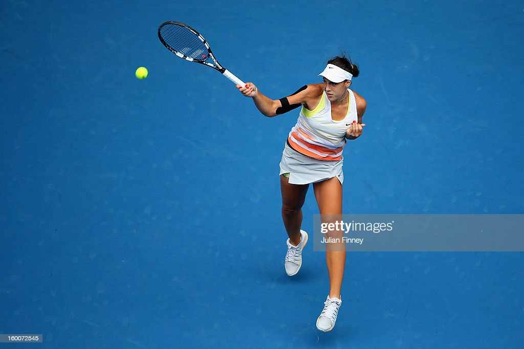 Ana Konjuh of Croatia plays a forehand in her junior girls' final match against Katerina Siniakova of the Czech Republic during the 2013 Australian Open Junior Championships at Melbourne Park on January 26, 2013 in Melbourne, Australia.