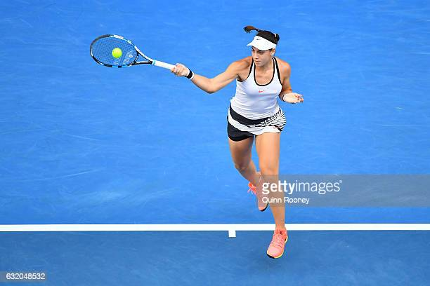 Ana Konjuh of Croatia plays a forehand in her second round match against Daria Gavrilova of Australia on day four of the 2017 Australian Open at...