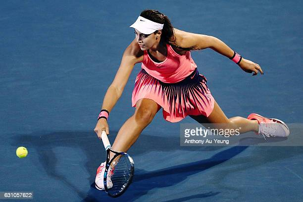 Ana Konjuh of Croatia plays a lob shot to win her semi final match against Julia Goerges of Germany on day five of the ASB Classic on January 6 2017...