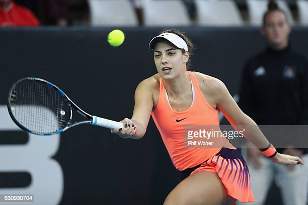 Ana Konjuh of Croatia plays a return against Yanina Wickmayer of Belguim on day three of the ASB Classic on January 4 2017 in Auckland New Zealand
