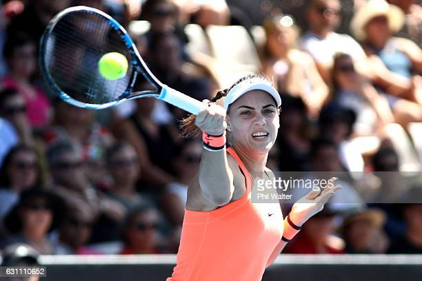Ana Konjuh of Croatia plays a return during the womens singles final between Lauren Davis of the USA and Ana Konjuh of Croatia on Day 6 of the ASB...