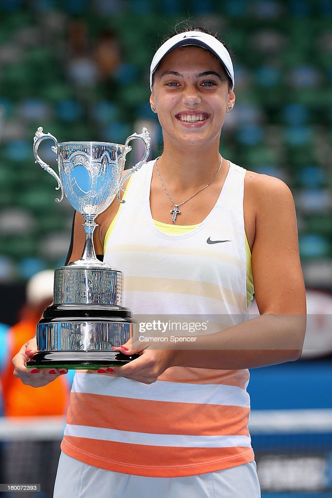 Ana Konjuh of Croatia poses with the championship trophy after winning her junior girls' final match against Katerina Siniakova of the Czech Republic during the 2013 Australian Open Junior Championships at Melbourne Park on January 26, 2013 in Melbourne, Australia.