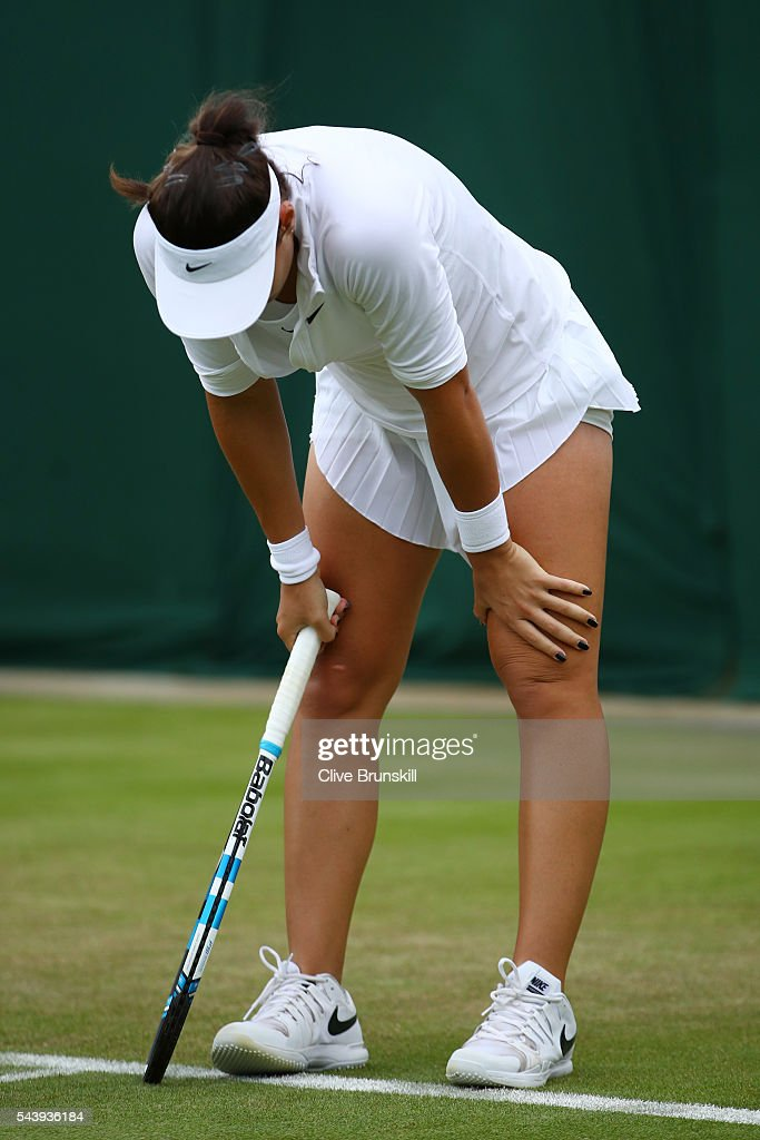 <a gi-track='captionPersonalityLinkClicked' href=/galleries/search?phrase=Ana+Konjuh&family=editorial&specificpeople=10126179 ng-click='$event.stopPropagation()'>Ana Konjuh</a> of Croatia reacts during the Ladies Singles second round match against Agnieszka Radawanska of Poland on day four of the Wimbledon Lawn Tennis Championships at the All England Lawn Tennis and Croquet Club on June 30, 2016 in London, England.