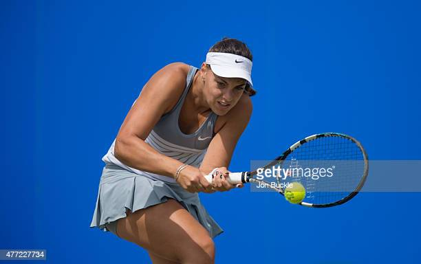 Ana Konjuh of Croatia returns a shot during her match against Monica Niculescu of Romania at Nottingham Tennis Centre on June 15 2015 in Nottingham...